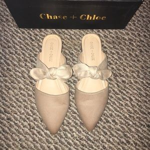 Chase + Chole nude mules with bow